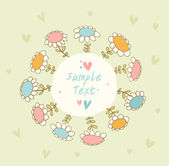 Bright seamless banner with flowers and place for text. Cute doodle card can be used for arts, gifts, invitations — Stock Vector
