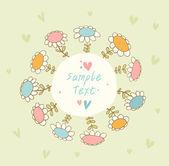 Banner transparente brillante con flores y lugar para el texto. doodle linda tarjeta puede utilizarse para las artes, regalos, invitaciones — Vector de stock