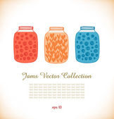 Jams drawn collection Strawberry jam Raspberry jam Doodle set of different confiture Isolated pots of jam Love heart in jar — Stock Vector