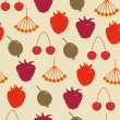 Seamless herbal pattern Decorative background with berries Rowan, raspberry, Strawberry, cherry, gooseberry, hips — Stock Vector #26529375