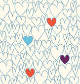 Original filename Seamless decorative love pattern Doodle cartoon backdrop with hand drawn hearts Textile fabric texture — Stock Vector