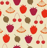 Seamless herbal pattern Decorative background with berries Rowan, raspberry, Strawberry, cherry, gooseberry, hips — Stock Vector