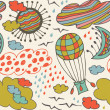 Seamless decorative pattern with clouds, overcasts, sun, moon, birds and balloon. Background with drawn elements of sky — Stockvektor