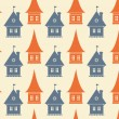 Seamless pattern with different silhouettes of houses. Simple geometrical town background. Cityscape endless texture — Stock Vector