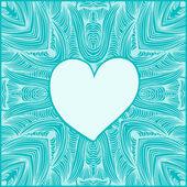 élément de belle conception pour cartes, métiers d'art, estampes, scrapbooking, ornements. main coeur dessiné avec des plumes. bannière d'amour scribble. cadre romantique — Vecteur