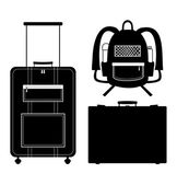 Set of black isolated contour silhouettes of bags. Icons collection of bags. Pictogram. Luggage, baggage. Suitcase. Case. Trunk. Rucksack, knapsack — Stock Vector