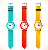 Isolated clocks. Wrist-watch. Set of clocks — Stock Vector