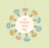 Green spring seamless banner with drawn flowers and place for text. Pattern above frame is complete and seamless. Cute doodle card can be used for arts, gifts, invitations — Stock Vector