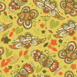 Decorative floral seamless background. Pattern with butterflies and fly hearts. Fabric ornate texture — Vettoriali Stock