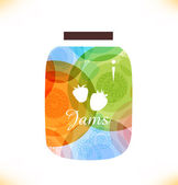Vector multicolor jam jar. Confiture. Isolated pot of jam. Beauty element for gifts, cards, invitations — Stock Vector