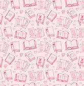 Pattern for girls with books, papers and hearts. Seamless background with sketches of copybooks — Stock Vector