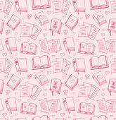 Muster für Mädchen mit Büchern, Zeitungen und Herzen. Nahtlose Hintergrund mit Skizzen der Hefte — Stockvektor