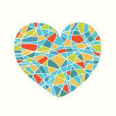 Isoliert auf weiß gezeichnete herz. liebe bild. süße mosaik herzen. vorlage für karten, druckt auf die taschen, tassen, taschen, souvenirs. schönheit-element für design — Stockvektor