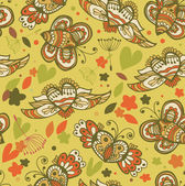Decorative floral seamless background. Pattern with butterflies and fly hearts. Fabric ornate texture — Vettoriale Stock