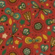 Decorative floral seamless background. Pattern with butterflies and fly hearts. Fabric ornate texture — Grafika wektorowa