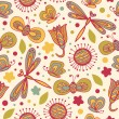 Decorative floral seamless background. Pattern with butterflies and fly hearts. Fabric ornate texture — 图库矢量图片
