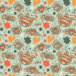 Decorative floral seamless background. Pattern with butterflies and fly hearts. Fabric ornate texture — Stock Vector