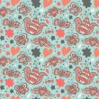 Abstract doodle seamless background with hearts. Endless scribble pattern. Abstract cute fabric texture — Stock Vector