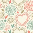 Abstract doodle seamless background with hearts. Endless scribble pattern. Abstract cute fabric texture — Imagen vectorial