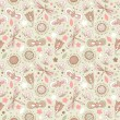 Decorative floral seamless background. Pattern with butterflies and fly hearts. Fabric ornate texture — Imagen vectorial