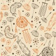 Ethnic pattern. Seamless national background with flowers, feathers and dream catchers. Background in the Indian style for design and decoration — Stok Vektör