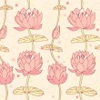 Lotus background. Floral pattern with water lilies. Seamless lace backdrop can be used for crafts, arts, wallpapers, web pages, surface texture, prints, textile — Stock Vector