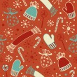 Seamless holiday Christmas pattern. Cute winter background with caps, scarfs, mittens and lollipops, sugarplums. Endless craft texture — Stock Vector