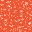 Light seamless pattern with gifts, candles, goblets. Endless decorative romantic background with boxes of presents. Hand drawn holiday texture for crafts, prints, wallpapers, package papers — Stock Vector