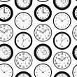 Seamless pattern texture with contours of round clocks. Time outline background — ストックベクタ