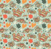 Dekorative floral nahtlose hintergrund. muster mit schmetterlingen und fliegen herzen. stoff verziert textur — Stockvektor