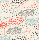 Rainy seamless decorative background. Ornate pattern with clouds, umbrellas and drops of rain. Cartoon stylish texture with many cute details — Stock Vector