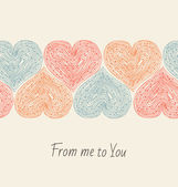 Cute design template with seamless ribbon of hearts. Decorative elements for cards, gifts, crafts — Stock Vector