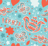 Decorative floral seamless background. Pattern with butterflies and fly hearts. Fabric ornate texture — Vector de stock