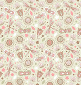 Decorative floral seamless background. Pattern with butterflies and fly hearts. Fabric ornate texture — Stockvector