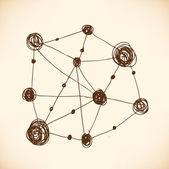 Modelo del átomo. enrejado atómico. estructura. dot y elemento abstracto lineal — Vector de stock