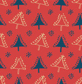 Seamless Christmas pattern. Endless texture with decorative spruces. Abstract holiday background. Xmas print design — Stockvector