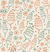 Romantiska seamless mönster med blommor och hjärtan. fantasy utsmyckade bakgrund för utskrifter, textil, scrapbooking, craft papper. bakgrundsbilder — Stockvektor