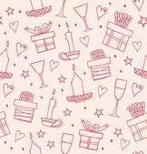 ギフト、キャンドル、ゴブレットと光のシームレスなパターン。プレゼントの箱との無限の装飾的なロマンチックな背景。描かれた休日のテクスチャ工芸品、プリント、壁紙、パッケージ ペーパーを手します。 — ストックベクタ