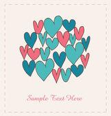 Bandera de amor decorativo con corazones en círculo. doodle elementos para scrapbooking, regalos, artes, artesanías, impresiones en tazas, bolsas, bolsas. elementos de diseño de garabato — Vector de stock