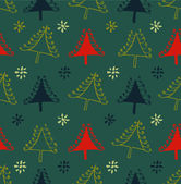 Seamless Christmas pattern. Endless texture with decorative spruces. Abstract holiday background. Xmas print design — Stock Vector