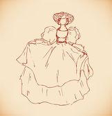Moderna banner med elegant kvinna. retro mall design i vintage stil för kort, etiketter, presenter — Stockvektor