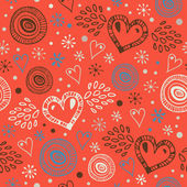 Seamless abstract love pattern. Doodle background with different hearts. Printing texture — Stock Vector