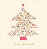 Christmas tree made of dots. Element for Xmas design. Retro cute card template — Stock Vector