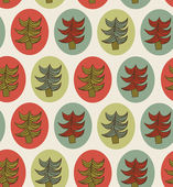 Seamless Christmas pattern. Endless texture with decorative spruces. Abstract holiday background. Xmas print design — Stockvektor