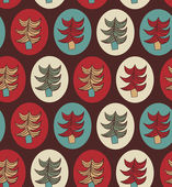 Seamless Christmas pattern. Endless texture with decorative spruces. Abstract holiday background. Xmas print design — ストックベクタ