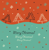 Christmas design. Holiday border. Christmas trees. Xmas card with decorative spruces. Artistic lace elements — Vecteur