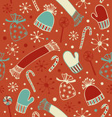 Seamless holiday Christmas pattern. Cute winter background with caps, scarfs, mittens and lollipops, sugarplums. Endless craft texture — Cтоковый вектор