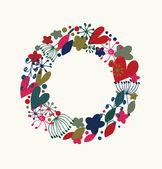 Dekorativní elegantní kulatý věnec. ozdobený věnec s srdce, květiny a sněhové vločky. prvek návrhu s mnoha roztomilé detaily — Stock vektor