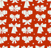 Seamless Christmas background with bows. Endless cute xmas pattern for textile, crafts, prints. Holiday backdrop — Stock Vector