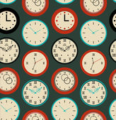 Seamless pattern texture with contours of round clocks. Time outline background — Stock Vector